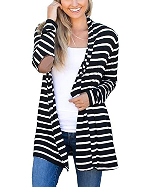 6135f20779 MerryfunWomen s Shawl Collar Striped Cardigan Long Sleeve Elbow Patch Open  Front Sweater top ...