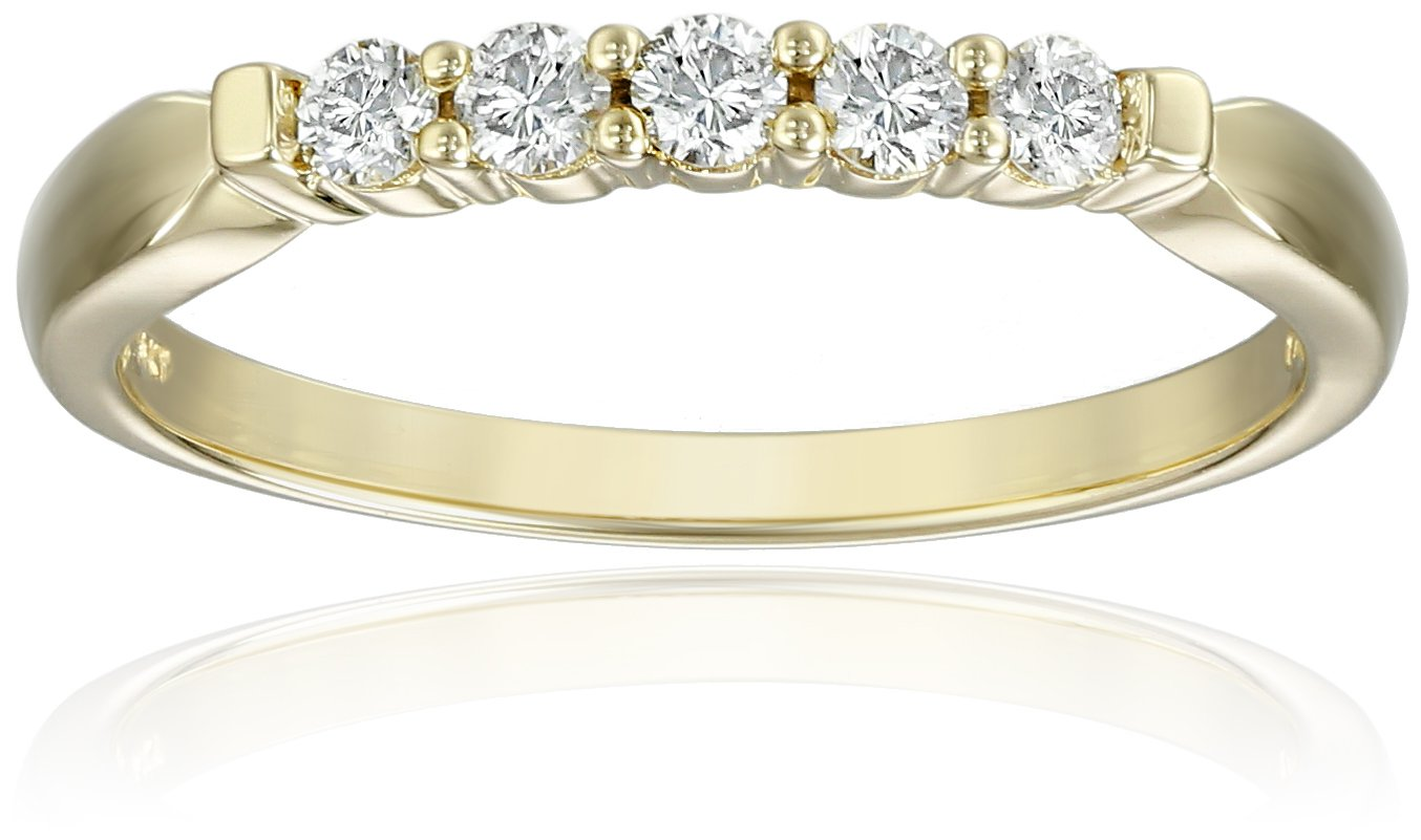 14k Yellow Gold 5-Stone Round Diamond Anniversary Band (1/4 cttw, IJ Color, I1-I2 Clarity), Size 7