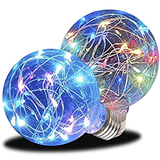 AmeriLuck Glass LED Fairy Light Bulb A19, Starry Fun Lighting, Festive Ambience Nightlight, Waterproof for Outdoor Use, RGB 2 Pack