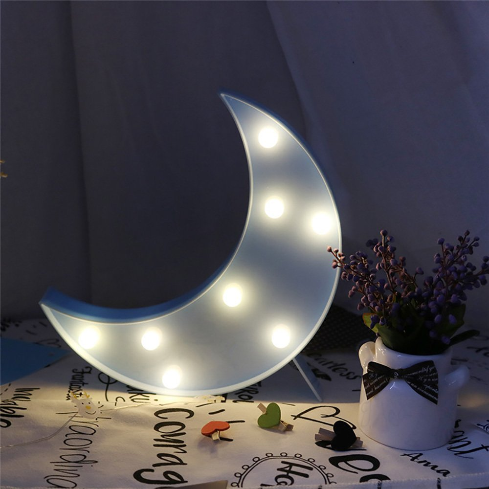 CSKB Cute LED Blue Moon Baby Night Light Lamp For Kids Battery Operated Pretty Moon Marquee Sign Decorative Night Lights Christmas Gift Table Wall Bedroom Home Decoration
