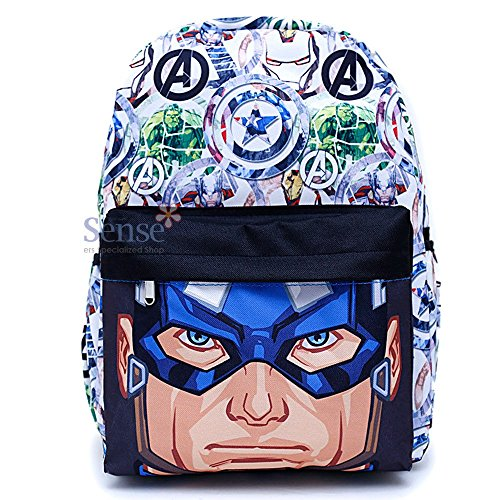 Marvel Avengers Captain America Backpack Boys Book Bag All Over Prints Big Face