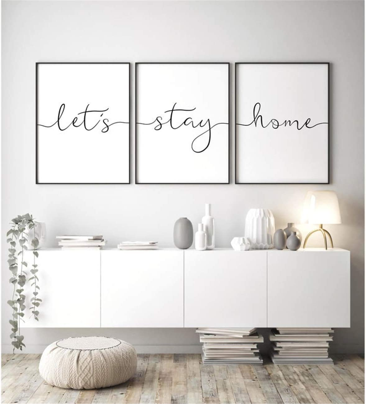 NATVVA 3 Pieces Lets Stay Home Sign Wall Art Canvas Painting Poster Print Family Quote Modern Living Room Decorative Picture Home Decor Framed Ready to Hang