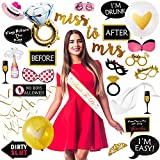 Bachelorette Party Supplies & Decorations Kit – Bride Sash & Veil, Room Decorations, & 30 Photobooth Props – Set-up Surprise Bridal Showers Quick & Easy– Includes Ring Balloon & Gold Foil Curtain