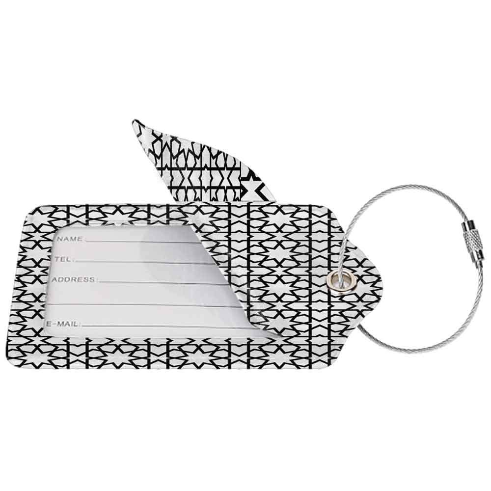 Small luggage tag Moroccan Decor Collection Moroccan Style Mosaic Ornament Geometric Patterns Classic Decorative Art Print Quickly find the suitcase Black White W2.7 x L4.6