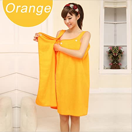 d0a79e5cef Women Bathrobe Soft Wearable Bath Towel Hydrophil Microfiber Bath Towel SPA  Wrap Bathrobes Comfortable Bath Skirt Loungewear Sleepwear (Orange)  ...