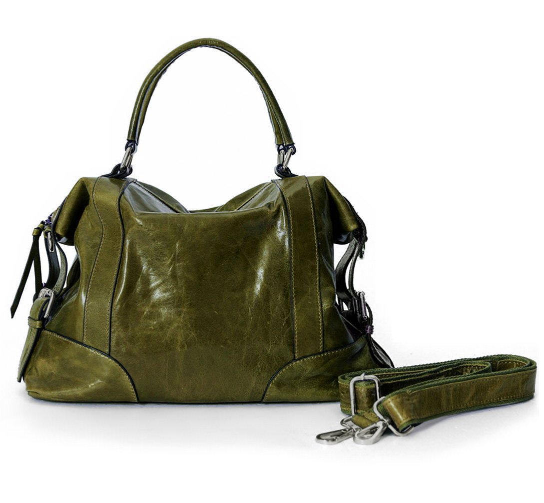 La Poet Women's Waxed Cowhide Hobo Satchel Shoulder Bag (Olive)