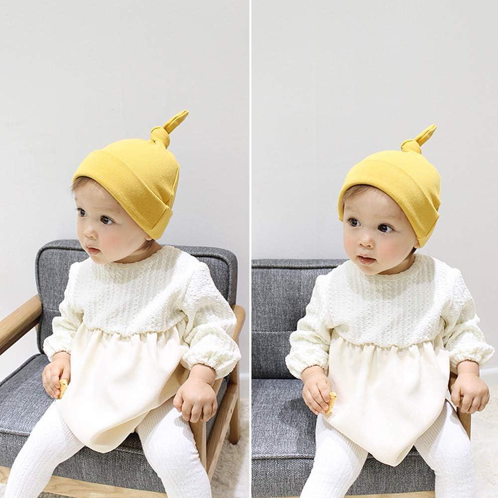 Danolt 3 Pcs Algod/ón Beb/é Sombreros y Gorras Gorro de Punto Suave y Lindo para beb/és Unisex Reci/én Nacidos Ni/ñas Ni/ños 0-24 Meses.