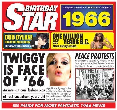 1966 Birthday Gift - 1966 Chart Hits CD and 1966 Birthday Card