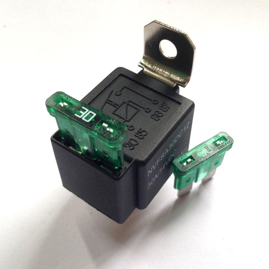 contatti normalmente aperti 30 Amp Fusibile rel/è on//off a 4 pin Ogry JD1912 biciclette 30 A 12 V furgoni per auto