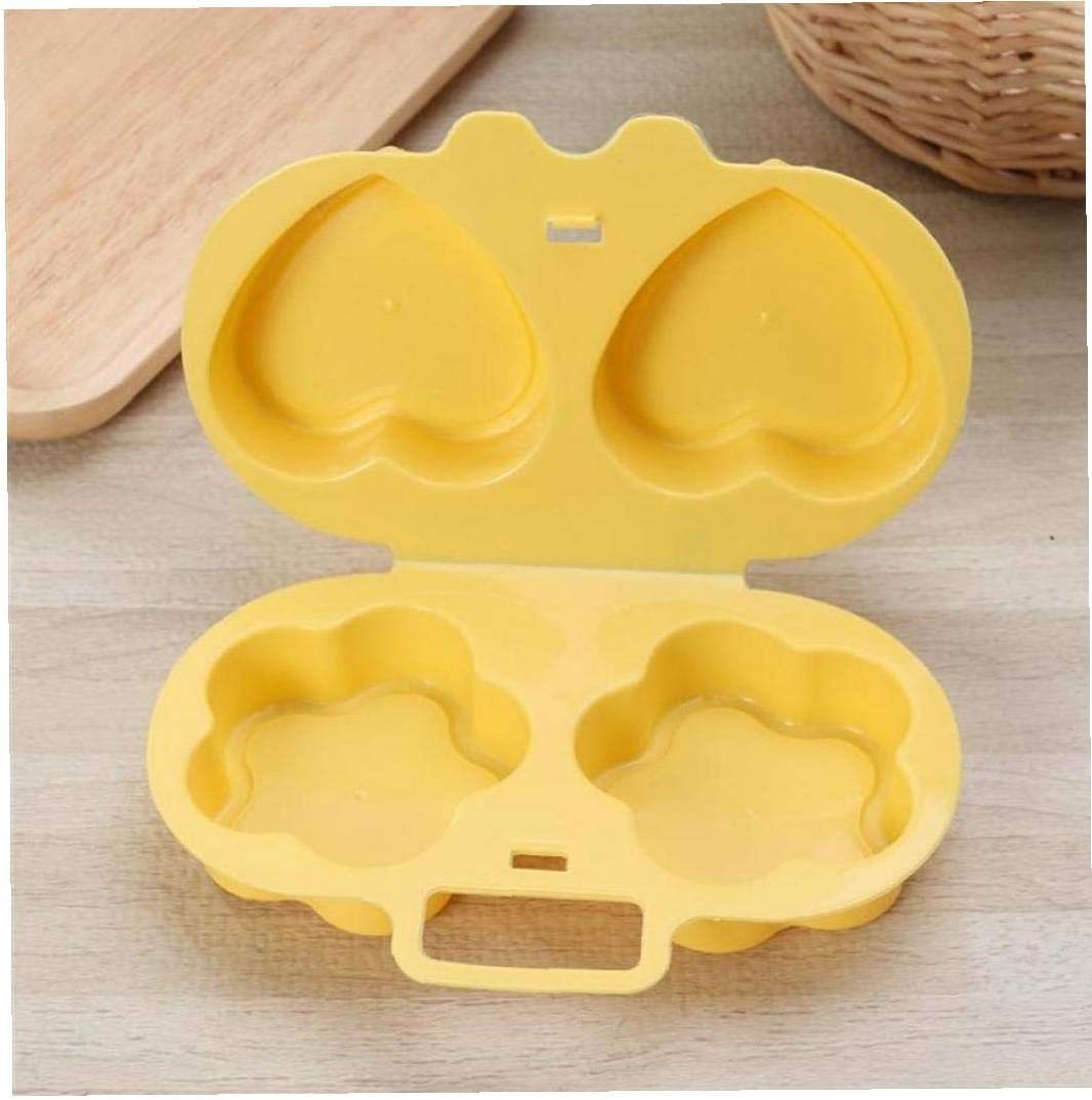 Flowers + Heart,Yellow Microwave Egg Cooker Heart Flower Shaped Egg Kitchen Gadgets Silicone Fried Eggs Oven