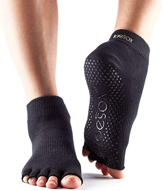 Yoga-Mad Half Toe Ankle Calcetines de Yoga, Unisex Adulto, Negro, M