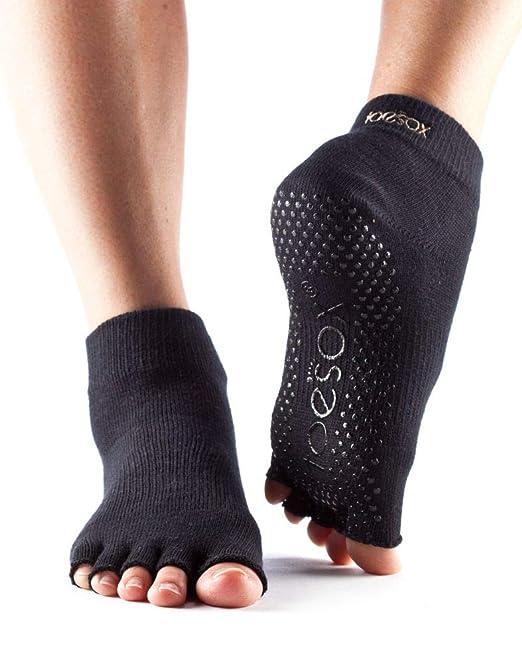 Yoga-Mad Half Toe Ankle Calcetines de Yoga, Unisex Adulto, Negro, M