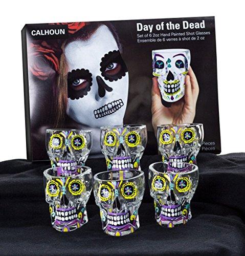 Day Of The Dead Sugar Skull Shot Glass - 6 Pack ()