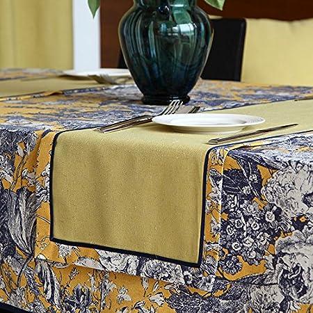 RUGAI-UE Mantel chino Cena Runner Algodón Mantel impreso clásico de la televisión nueva bandera del Gabinete,Algodón impreso banderas amarillas,tabla Runner 32*180cm.