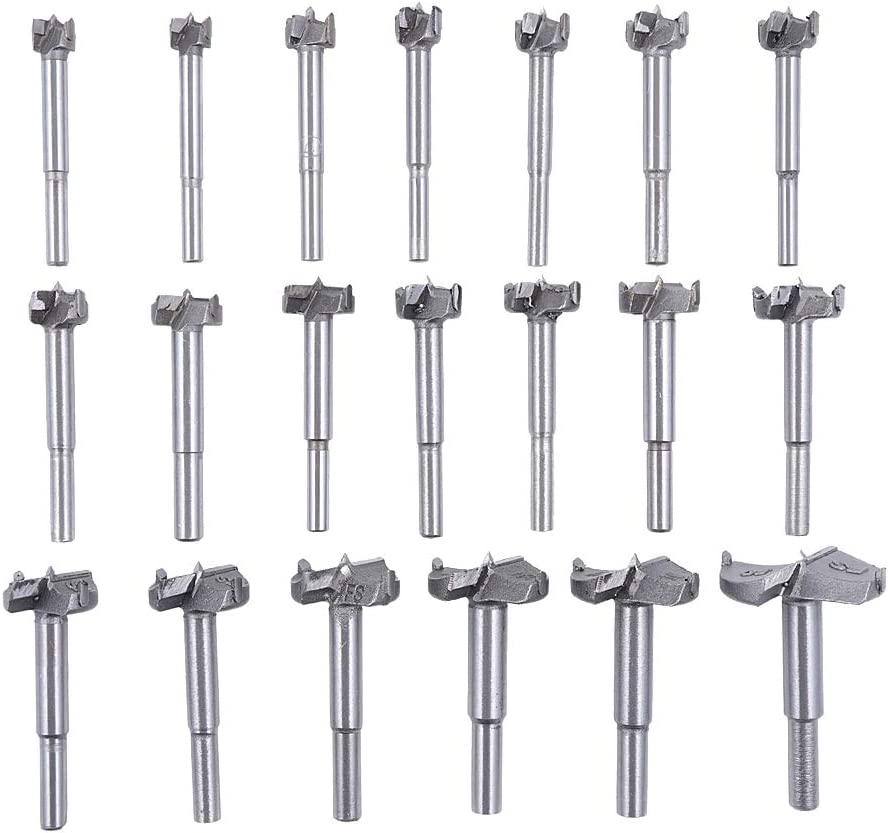 20Pcs Forstner Drill Bits, Rocaris Tungsten Steel Woodworking Hole Saw Set, Wood Cutter Auger Opener Round Shank Drilling Cutting Tool (14mm-50mm)