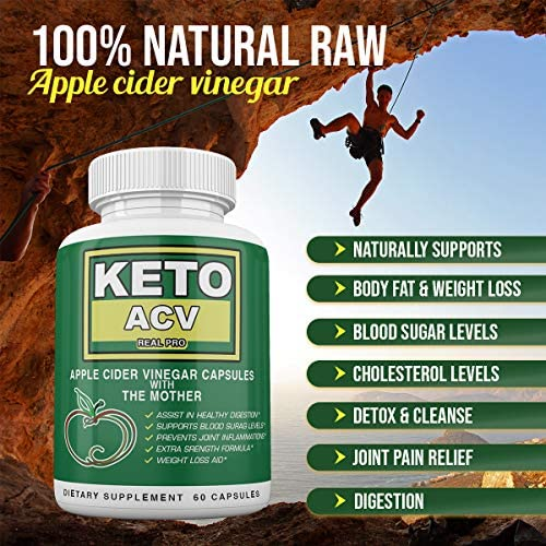 Keto BHB and ACV Real PRO - Organic Apple Cider Vinegar with Mother Capsules - Keto Advanced Weight Loss Supplement - 1 Month Combo 5