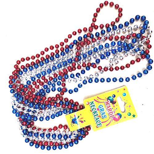 Weite 6-Pack Round Metallic Beaded Necklaces for Independence Day Decorations, Patriotic Mardi Gras Beads Fourth/4th of July Party Favors, 33 Inch (Multicolor)]()