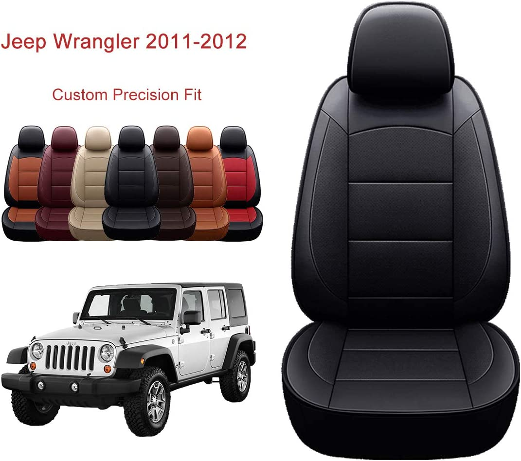 2DR, Black OASIS AUTO Wrangler JK 2007 2008 2009 2010 Unlimited Custom Exact Fit PU Leather Seat Covers Accessories Full Set X Sport Sahara