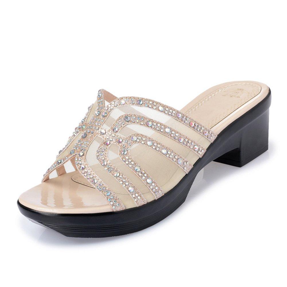 Btrada Women's Platform Wedge Sandals Summer Anti-Slip Thick Bottom Slides B07BPVD7KD 10 B(M) US Golden