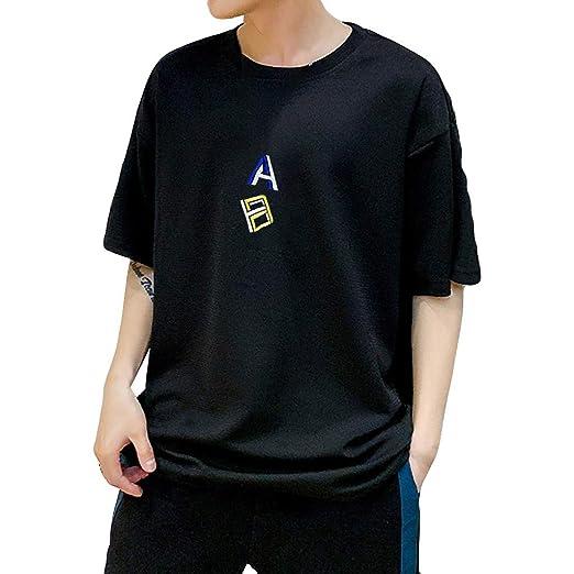 838d80b8 Men Casual Half Sleeve T-Shirt Tops Round Neck Summer Print Loose Blouse (M
