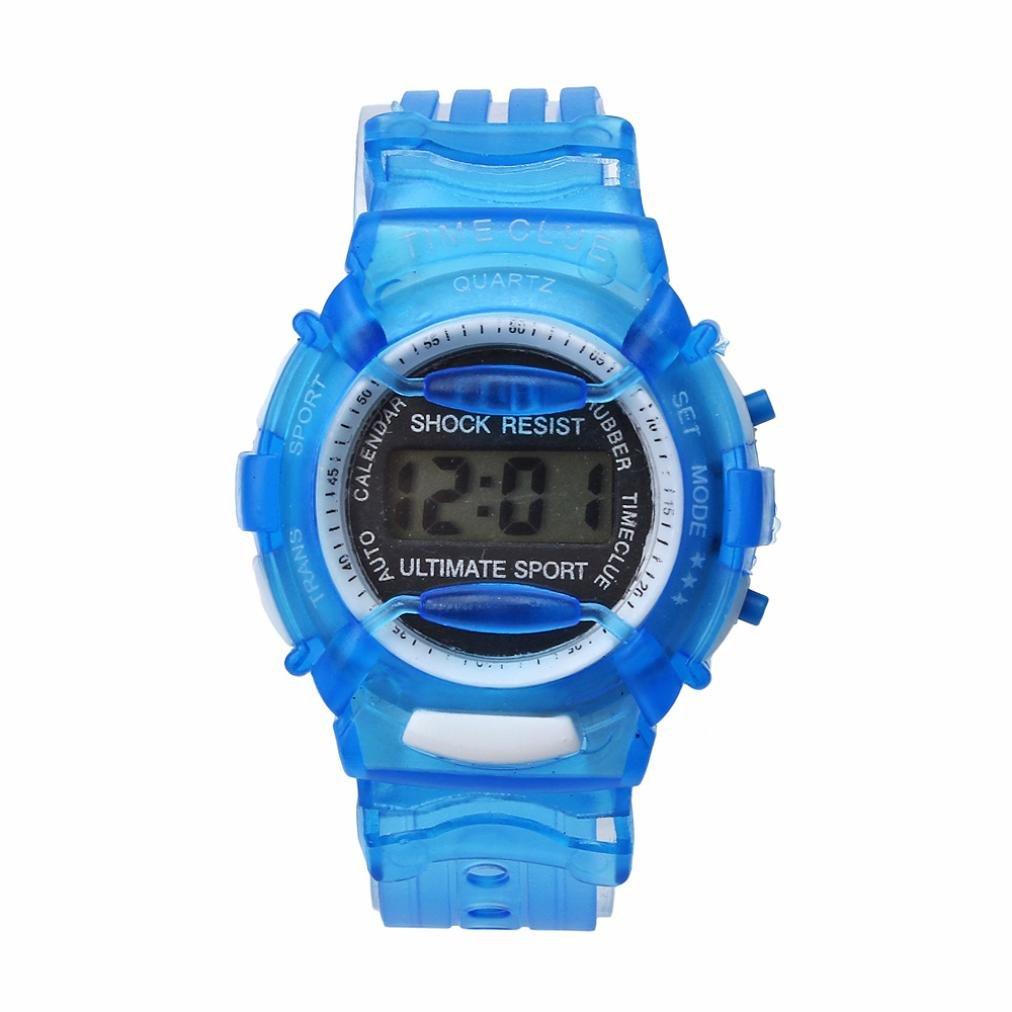 Gbell Fashion Boys Girls Outdoors Digital Wrist Watch - Waterproof Sport Watch for Kids 5-15 Years Old,Grey Hot Pink Red Green Blue (Blue)