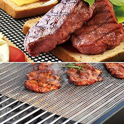 yitan Tapis de Cuisson Tapis Barbecue 3 Pack BBQ Grill Mesh Mat Anti Stick Barbecue Grill Couverture Plaque à pâtisserie Liners Grilling Mats Poisson Légumes Fumeurs Accessoires