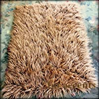 Fur Accents Sheepkin Collection / 2ft X 3 Ft Light Brown Mongolian Faux Fur Accent Rug / Rectangle Runner / New