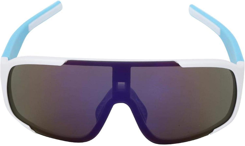 DAUERHAFT 부드럽게 장면 사이클링 선글라스 야외 안경 키잉 (화이트 블루 프레임 + 모방 블루 필름)