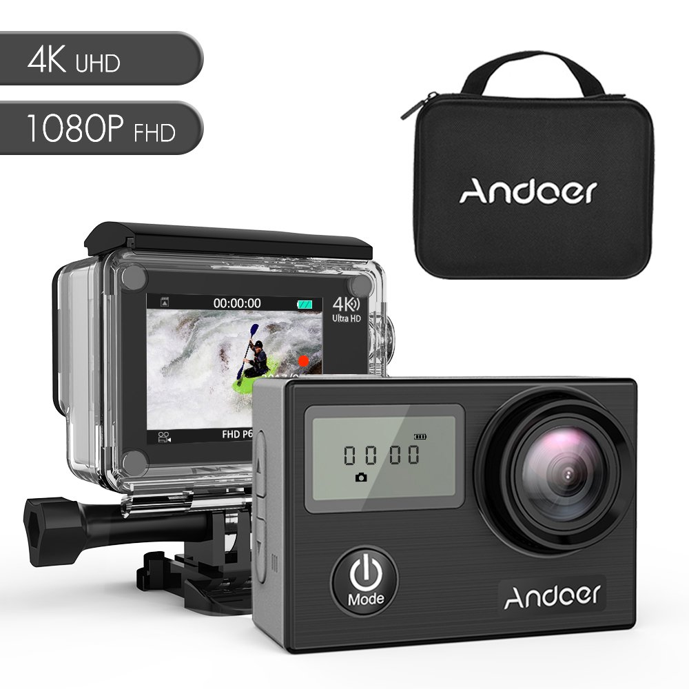 Andoer AN4000 WiFi 4K 30fps 16MP Action Sports Camera 1080P 60fps Full HD 4X Zoom Waterproof 40m 2'' LCD Screen 170° Wide Angle Lens Support Slow Motion Drama Photography with Remote Control (black)