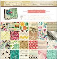 American Crafts Set de 180 láminas de Papel para Manualidades con los Mejores diseños, 30.5 x 30.5 cm