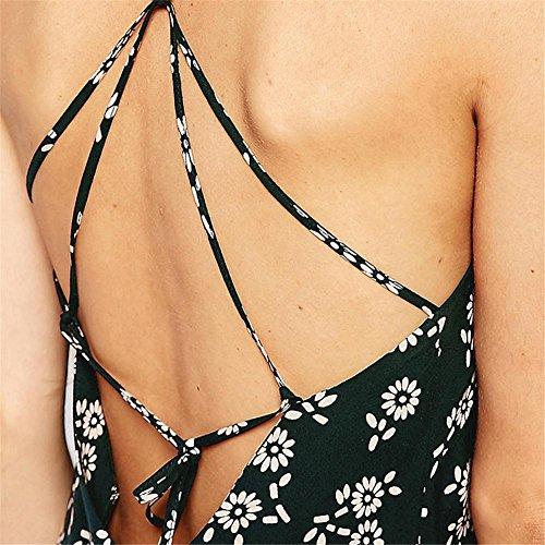 HYHAN Printemps / été robes Mode féminine en mousseline de soie sexy Halter bracelet mince petites fleurs fraîches une jupe jupe mince