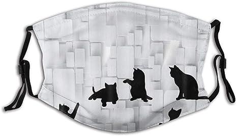 Dycbness Face Cover Lustige Katze Schwarz Welpe Silhouette Auf Mosaik Schwarz Grau Wiederverwendbare Anti Staub Mund Bandanas Mit 2 Filtern Bekleidung