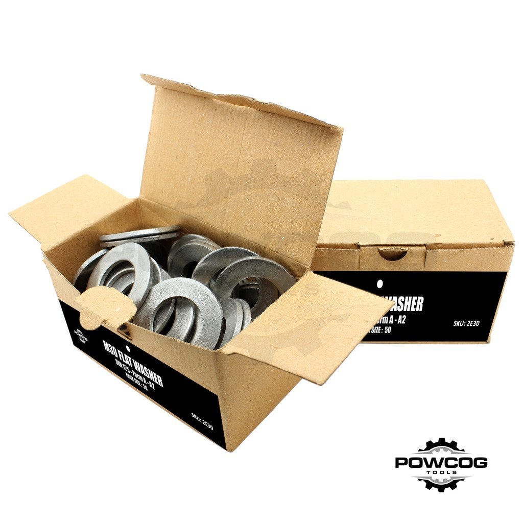 M30 Flat Washer - A2 Stainless Steel Thick Grade 304 Metric Grade - Form A DIN 125 - by POWCOG® - Pack of 10