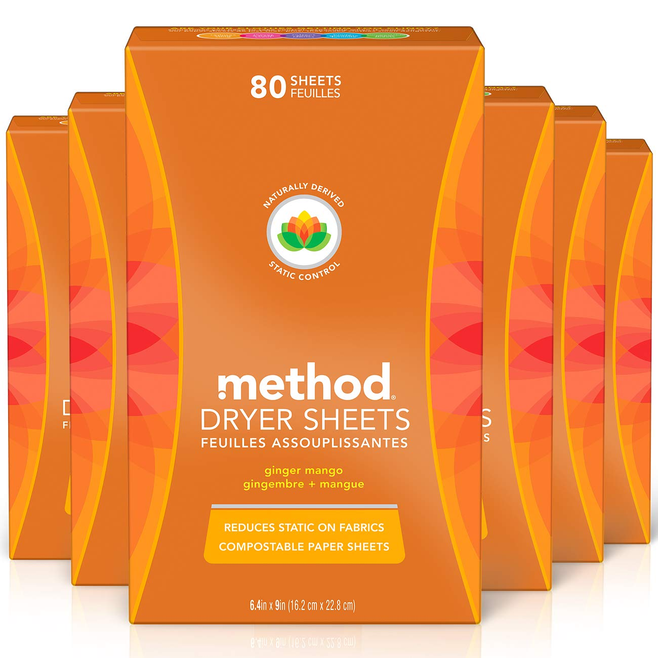 Method Dryer Sheets, Ginger Mango, 80 Count, Pack of 6