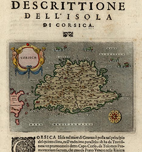 Corsica Italy sea monsters compass rose cartouche 1620 Porcacchi rare old map ()