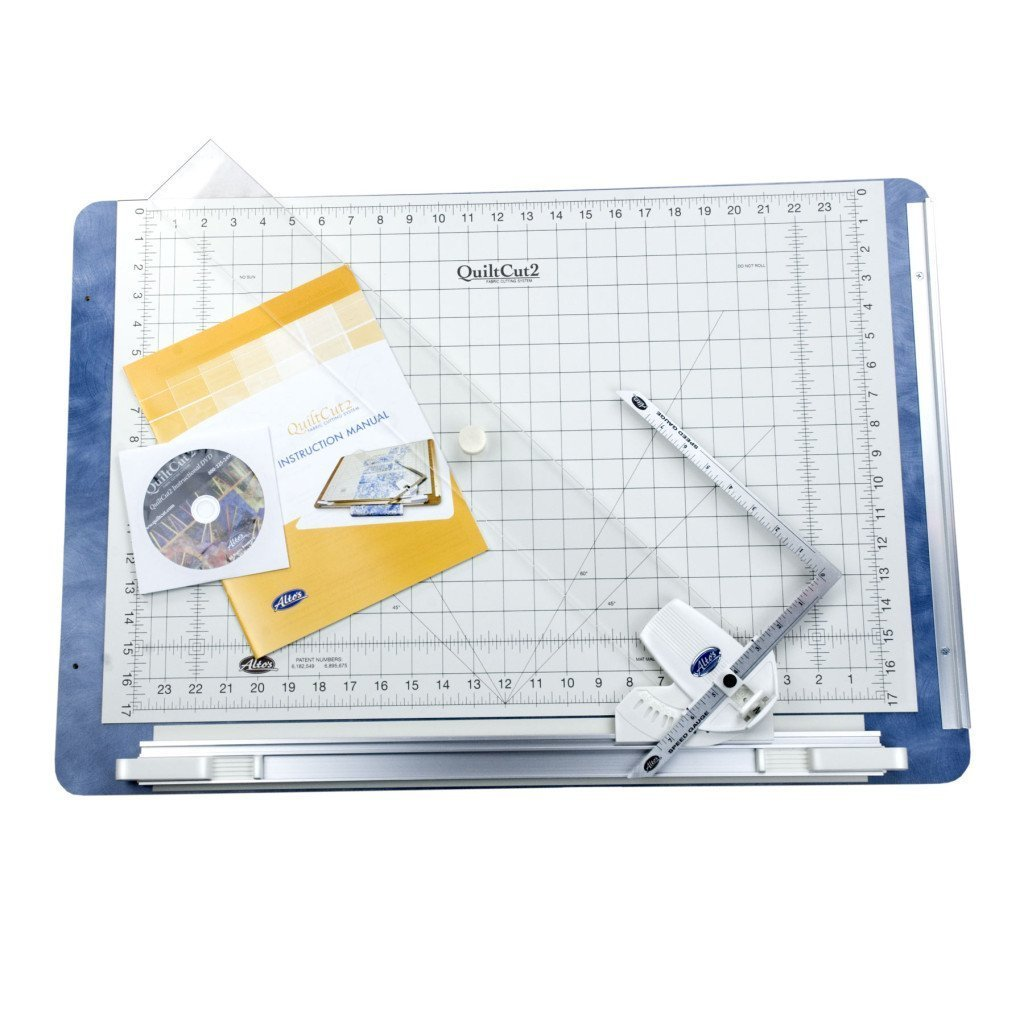 QuiltCut2 All-in-One Fabric Cutting System for Quilters - Includes Rotary Cutting Mat, Fabric Clamp, Cutting Guide, and Speed Gauge Ruler by QuiltCut