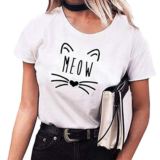 MEIbax Camisetas mujer manga corta con Cuello Redondo con Estampado De Gato Suelta Tops Originales Camisa
