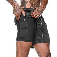 2 en 1 Pantalones Cortos para Hombres Único Bolsillo Incorporado Hombres Transpirable de Secado rapido Estilo Running Gym Shorts de Cintura Elastica