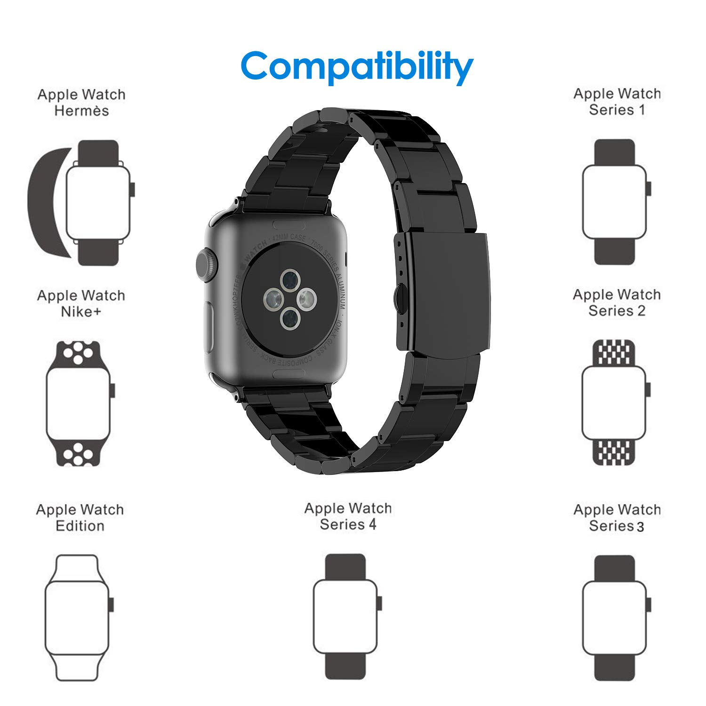 ccdaa2fe8f JETech Bracelet de Remplacement pour Apple Watch 42mm et 44mm Series 1 2 3  4, Acier Inoxydable, Noir: Amazon.fr: High-tech