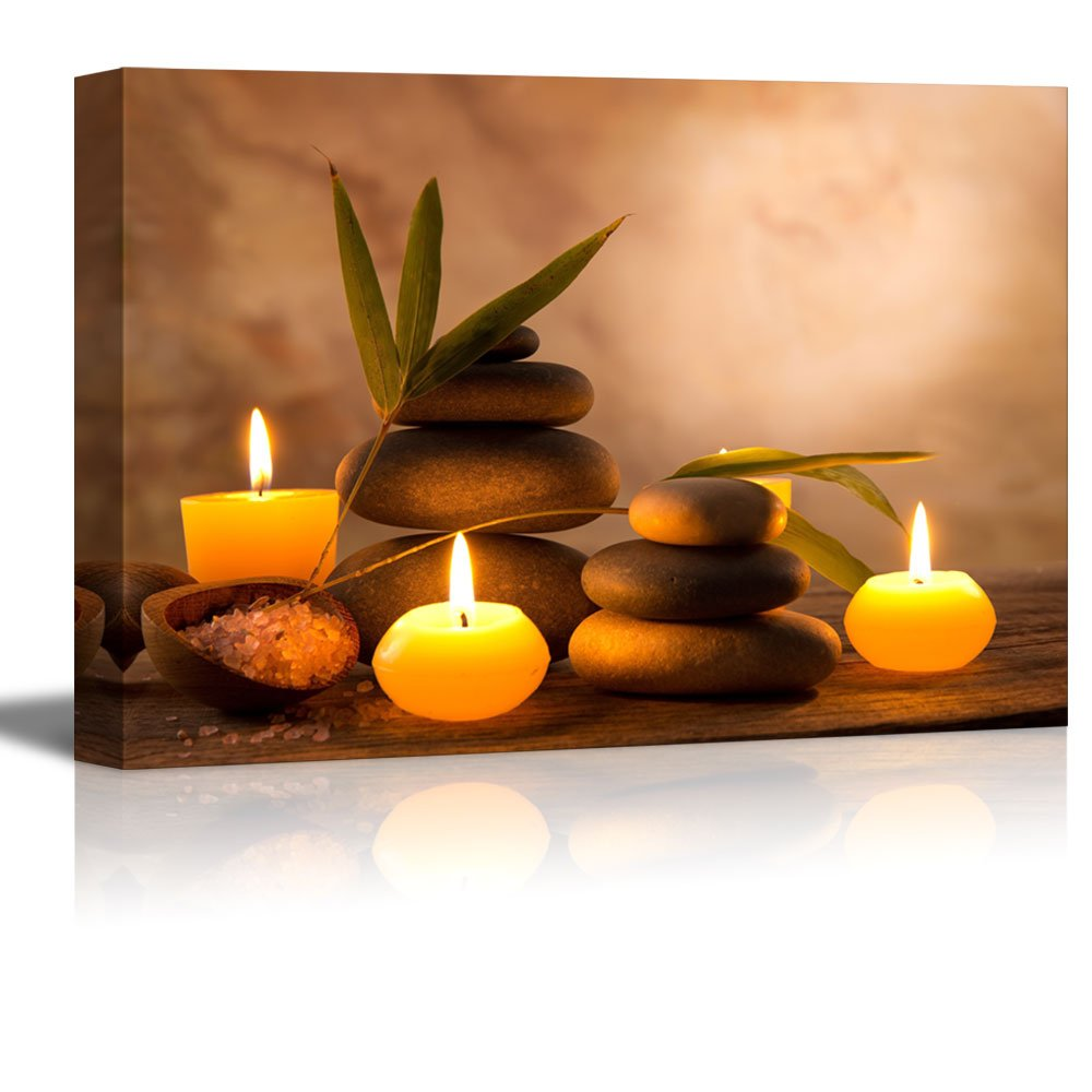 Canvas Prints Wall Art - Spa Still Life with Aromatic Candles and Zen Stones | Modern Wall Decor/Home Decoration Stretched Gallery Canvas Wrap Giclee Print & Ready to Hang - 24'' x 36''