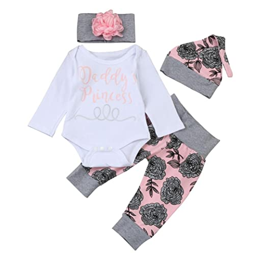 Baby Girl 4P Outfits Set,Newborn Infant Baby Girl Letter Romper Tops Floral Pants Hat Outfits Clothes Set (0-3 Months, White)