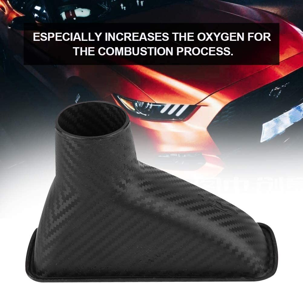 Qiilu Universal Car Modified Front Bumper Air Intake Pipe Turbo Turbine Inlet Pipe Funnel Carbon Fiber Air Funnel Kit