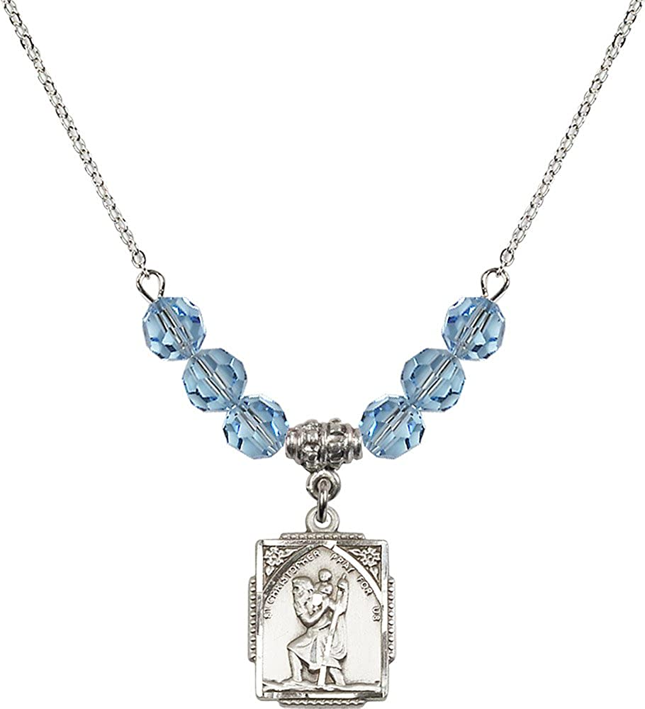 18-Inch Rhodium Plated Necklace with 6mm Aqua Birthstone Beads and Sterling Silver Saint Christopher Charm.