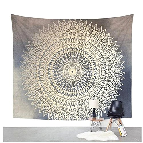 Pertongty Indian Flower Elephant Mandala Tapestry Wall Hanging Bedspread Throw Hippie Boho Decoration (Small/59