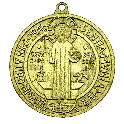 Medalla De San Benito Medal St Saint Benedict Large Antiqued Gold Tone Color Huge Medallion