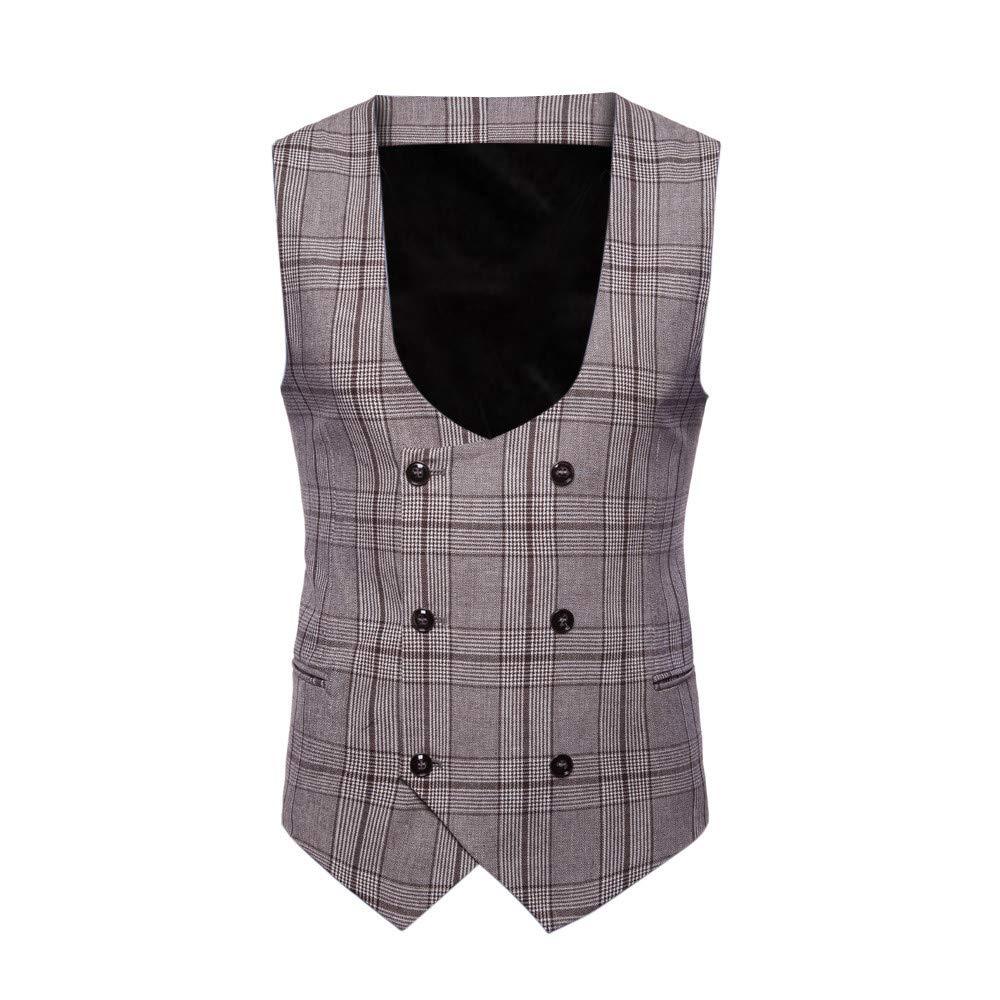 SMALLE ◕‿◕ Clearance,Men Plaid Button Casual Print Sleeveless Jacket Coat British Suit Vest Blouse