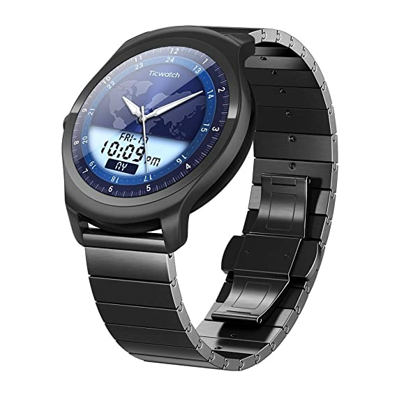 b1e370e0149f76 Ticwatch 2 Classic 42mm Stainless Steel Smartwatch - Onyx - Mobvoi Voice  Contral Ticwear OS Compatible