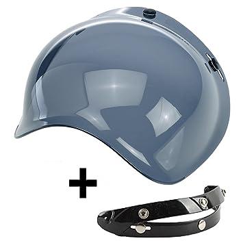 -aftermarket visera BURBUJA Bubble tres Botones Abatible 30% plástico Universal para casco Jet Compatible
