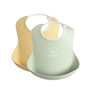 BABYBJÖRN Baby Bib, 2-Pack, Powder Yellow/Green