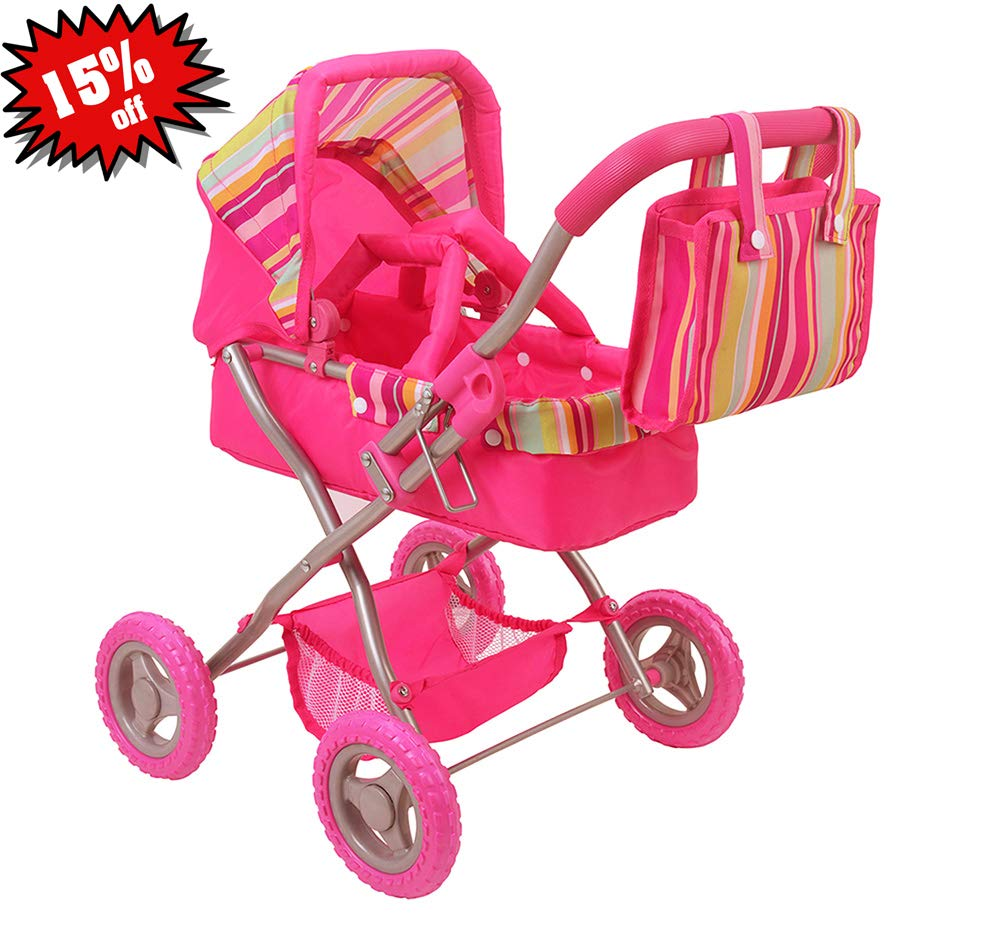 CUBY Doll Jogging Stroller, Baby Toy Stroller, Doll Pram Lightweight with Removable Carrycot and Diaper Bag